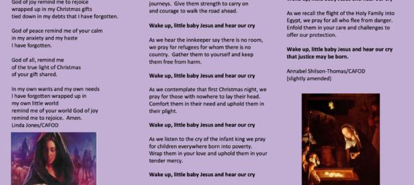 Image of Cafod prayer leaflet for December 2020